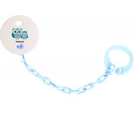 Attache tototte 3 hiboux + prénom couleur Bleu ciel
