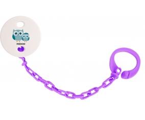 Attache-sucette 3 hiboux + prénom couleur Violet