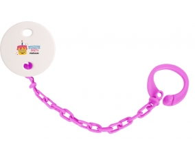 Attache-tototte Birthday party style 2 + prénom couleur Rose fuschia