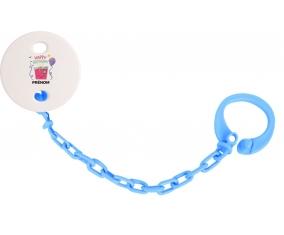 Attache-tétine Happy birthday style 4 + prénom couleur Bleu turquoise