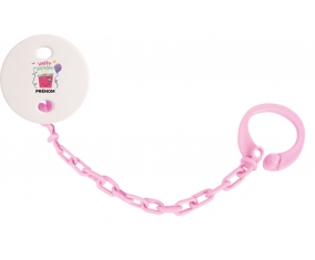 Attache tototte Happy birthday style 4 + prénom couleur Rose clair