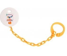 Attache tétine Happy birthday style 5 + prénom couleur Orange