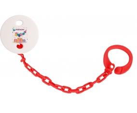 Attache-tétine Happy birthday style 5 + prénom couleur Rouge