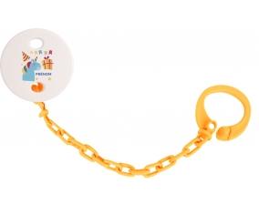 Attache-tototte Licorne anniversaire + prénom couleur Orange