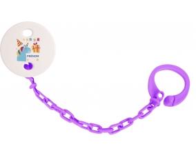 Attache-tétine Licorne anniversaire + prénom couleur Violet