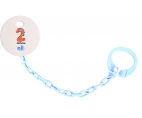 Attache sucette Deux ans anniversaire style 1 + prénom couleur Bleu ciel