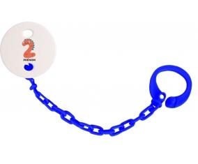 Attache-tétine Deux ans anniversaire style 1 + prénom couleur Marine
