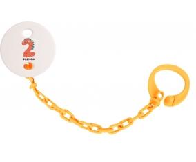 Attache-tototte Deux ans anniversaire style 1 + prénom couleur Orange