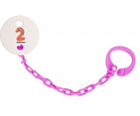Attache sucette Deux ans anniversaire style 1 + prénom couleur Rose fuschia