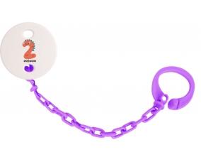 Attache-tétine Deux ans anniversaire style 1 + prénom couleur Violet