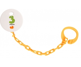 Attache-sucette Trois ans anniversaire style 1 + prénom couleur Orange
