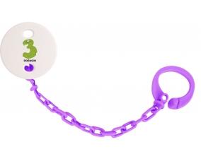 Attache-tétine Trois ans anniversaire style 1 + prénom couleur Violet