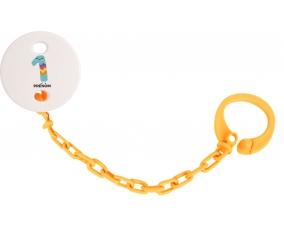 Attache-tétine un an anniversaire style 2 + prénom couleur Orange