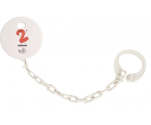 Attache-tétine Deux ans anniversaire style 2 + prénom couleur Blanc