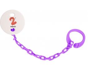 Attache sucette Deux ans anniversaire style 2 + prénom couleur Violet