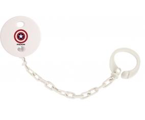 Attache tétine Captain america + prénom couleur Blanc