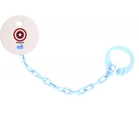 Attache sucette Captain america + prénom couleur Bleu ciel