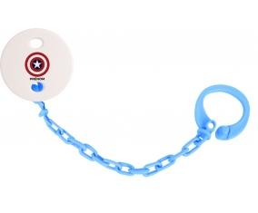 Attache tototte Captain america + prénom couleur Bleu turquoise