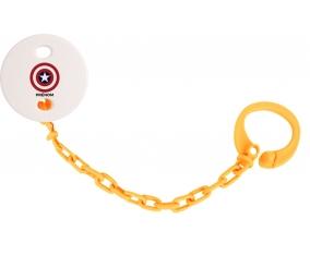 Attache-tototte Captain america + prénom couleur Orange