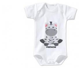 Body bébé Zébre style 3 + prénom 12/18 mois manches Courtes
