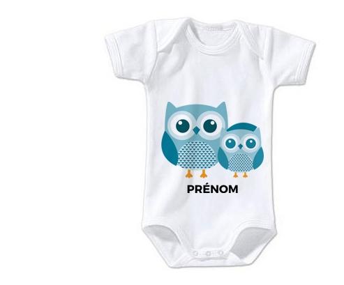 Body bébé 3 hiboux + prénom 3/6 mois manches Courtes