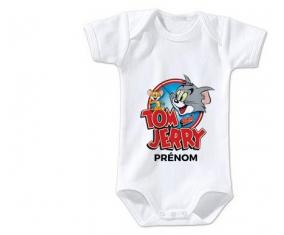 Body bébé Tom & Jerry + prénom 12/18 mois manches Courtes