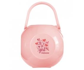 Boîte à sucette It's a girl + prénom de couleur Rose
