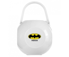 Boîte à sucette Batman + prénom de couleur Blanche