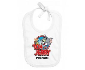 Bavoir bébé design Tom & Jerry + prénom