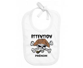 Bavoir bébé design Attention pirate + prénom