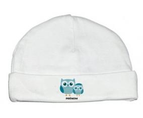 Bonnet bébé design 3 hiboux + prénom