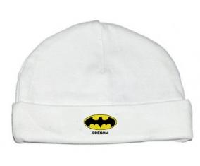 Bonnet bébé design Batman + prénom