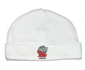 Bonnet bébé design Tom & Jerry + prénom