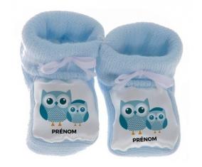 Chausson bébé 3 hiboux + prénom de couleur Bleu