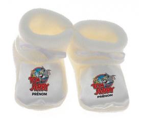 Chausson bébé Tom & Jerry + prénom de couleur Blanc