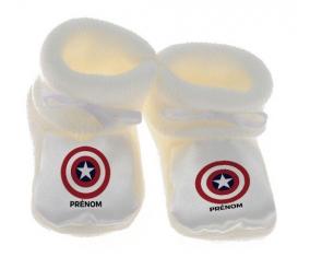 Chausson bébé Captain america + prénom de couleur Blanc