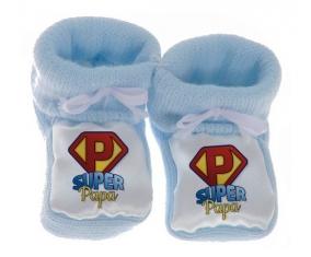 Chausson bébé Super Papa de couleur Bleu
