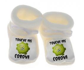 Touche pas Corona : Chausson bébé de couleur Blanche