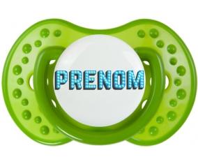 Tétine Prénom ou texte personnalisée alphabet style-11 :Vert classique Tétine embout Lovi Dynamic 0/6 mois