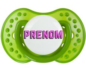 Tétine Prénom ou texte personnalisée alphabet style-12 :Vert classique Tétine embout Lovi Dynamic 0/6 mois