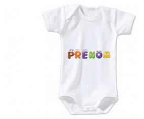 Body Prénom ou texte personnalisée alphabet style-1 taille 3/6 mois manches Courtes