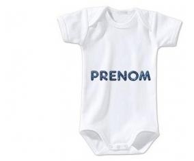 Body Prénom ou texte personnalisée alphabet style-15 taille 3/6 mois manches Courtes