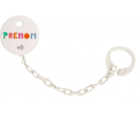 Attache-tétine Prénom ou texte personnalisée alphabet style-2 couleur Blanc