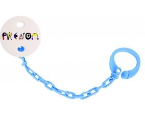 Attache-tétine Prénom ou texte personnalisée alphabet style-14 couleur Bleu turquoise