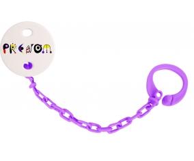 Attache-tétine Prénom ou texte personnalisée alphabet style-14 couleur Violet
