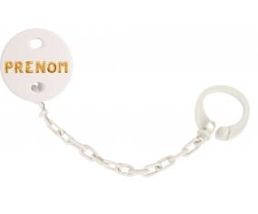 Attache-tétine Prénom ou texte personnalisée alphabet style-17 couleur Blanc