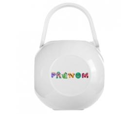 Boîte à tétine Prénom ou texte personnalisée alphabet style-51 de couleur Blanche