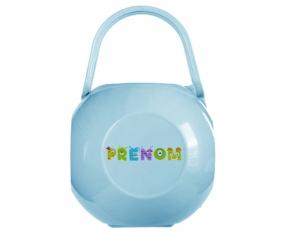 Boîte à tétine Prénom ou texte personnalisée alphabet style-52 de couleur Bleue