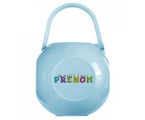 Boîte à tétine Prénom ou texte personnalisée alphabet style-53 de couleur Bleue