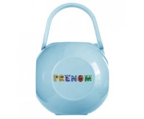 Boîte à tétine Prénom ou texte personnalisée alphabet style-54 de couleur Bleue